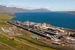 An aerial view of construction progress at Fjarðaál, Alcoa's first primary smelter in 20 years