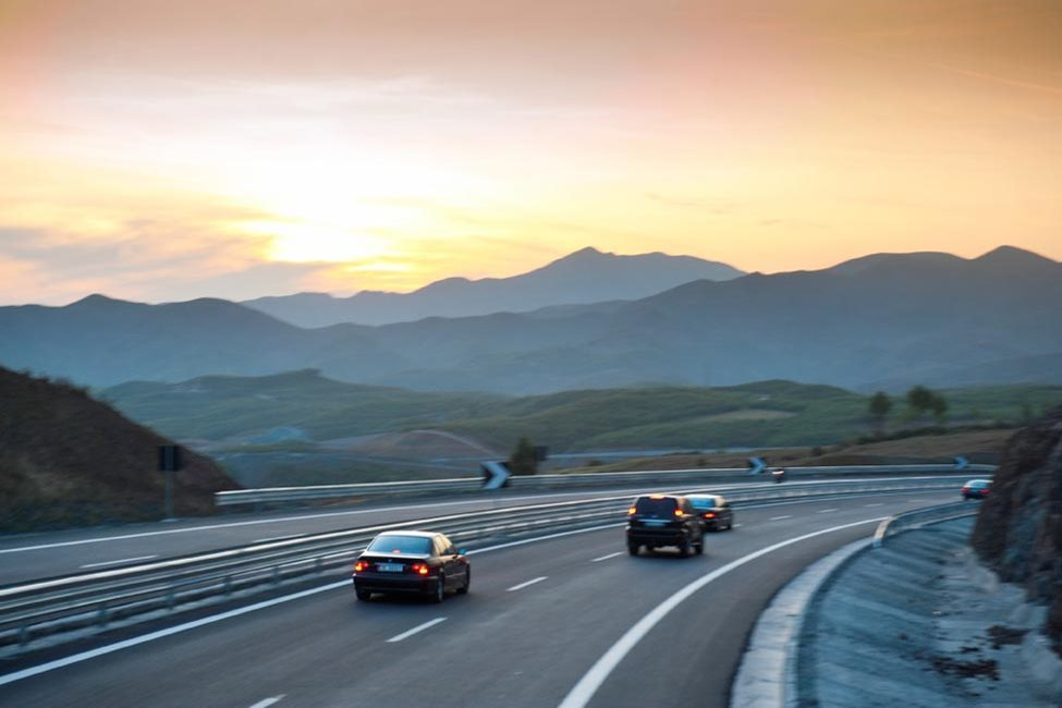 Cars on the Albanian Motorway