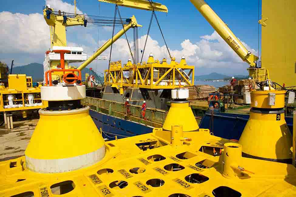 A view of the umbilical termination hub; umbilicals supply the subsea system with power, communications and control signals, chemicals and hydraulic fluid