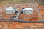 aerial shot of LNG tanks