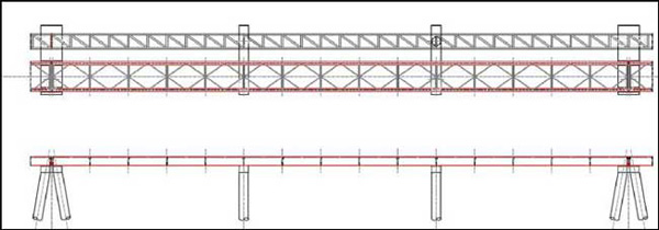 Plan and Elevation of a Trestle with a Roadway