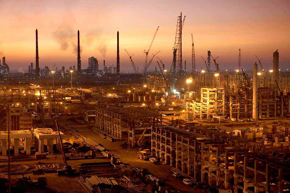 Twilight at the Jamnagar complex, one of the world's largest oil-refining hubs
