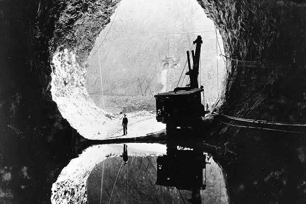 Workers tunneling through the Black Canyon