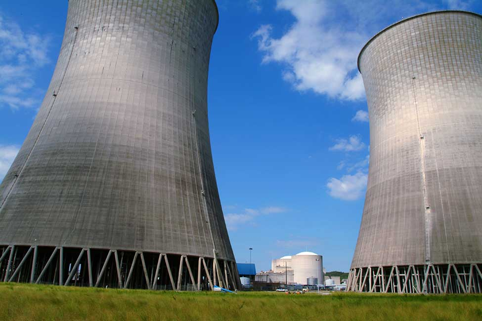 image of nuclear power plant cooling towers