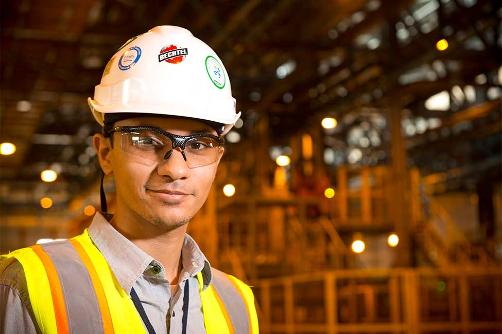 One of the project's engineers inside the aluminum plant
