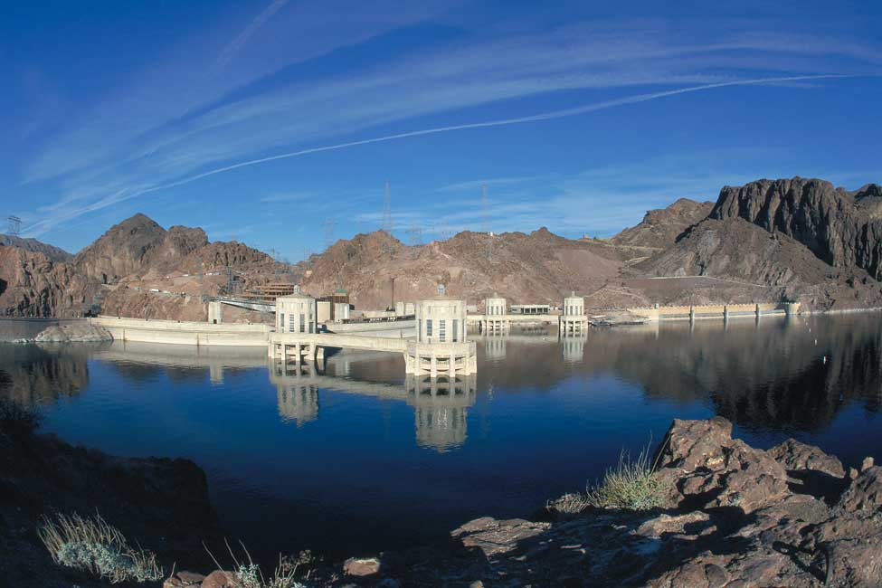 Formed by the dam, Lake Mead is capable of holding more than 9 trillion gallons (34 trillion liters) of water