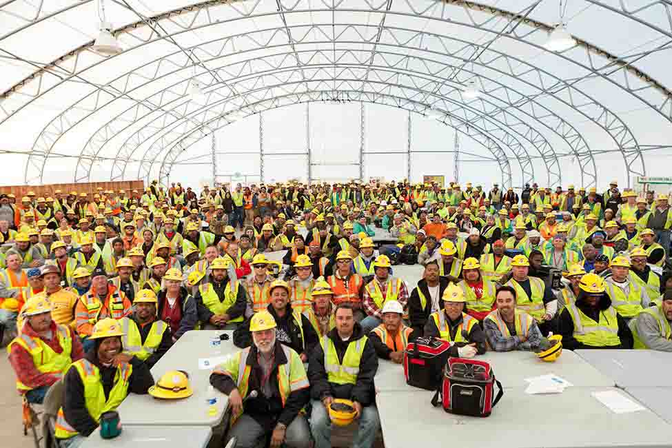 Craft workers in the project's lunch tent