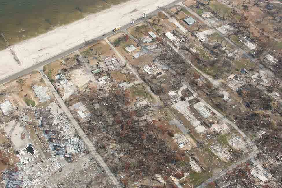 An aerial view of some of the damage caused by Hurricane Katrina
