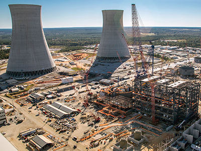 Aerial view of Plant Vogtle construction site