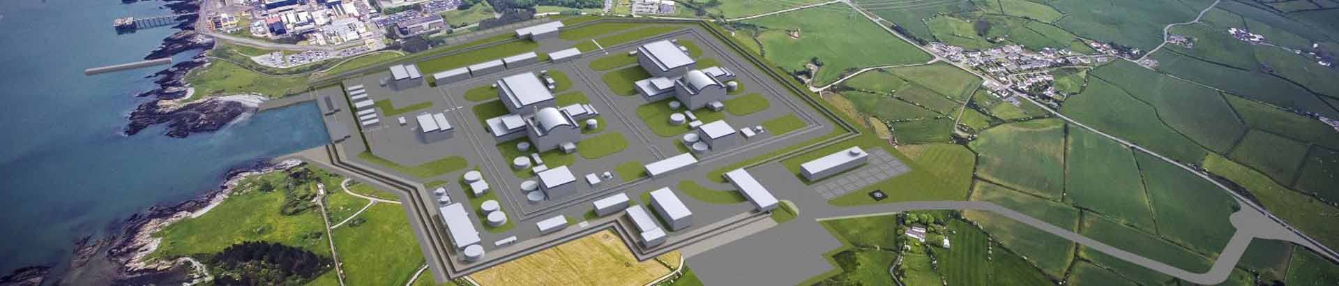 A rendering of the nuclear plant's site