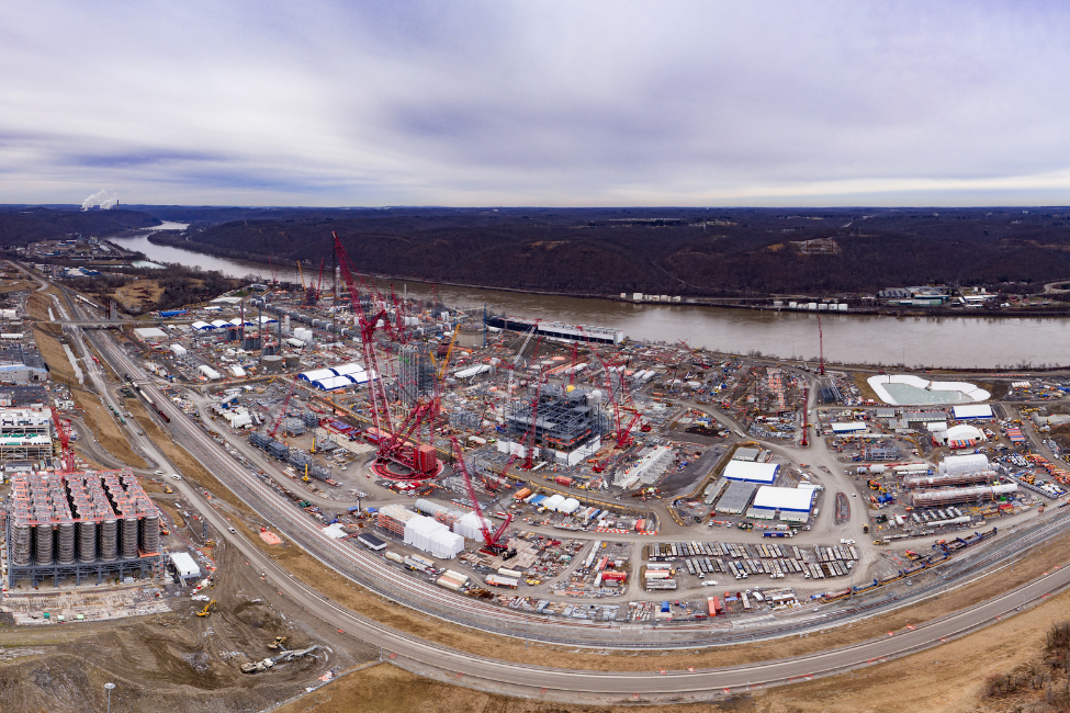 Aerial shot of the Pennsylvania Chemicals project construction site