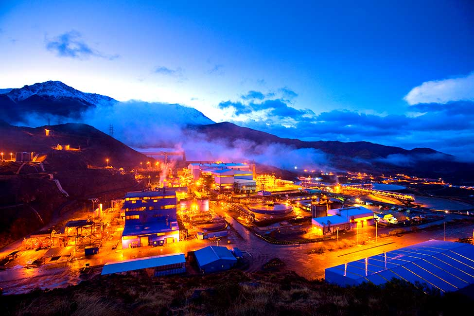 Daybreak at the Los Pelambres copper mine in Chile