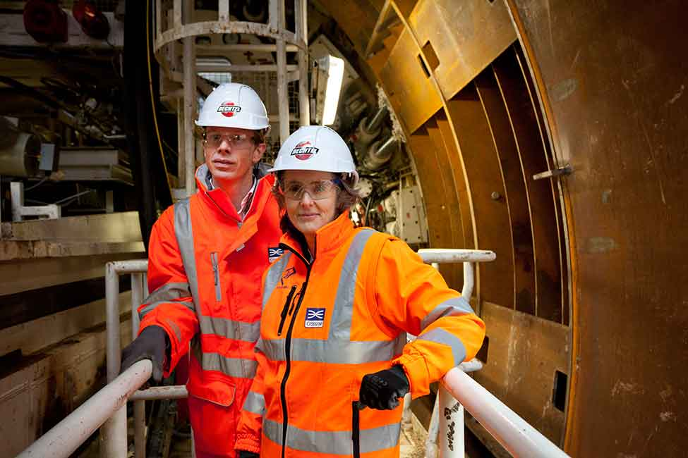 Workers inside Crossrail tunnel
