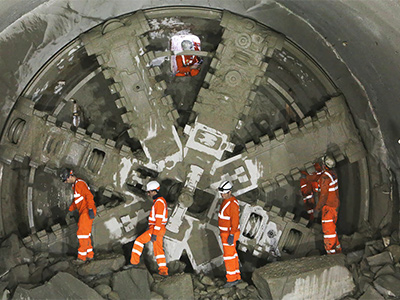 Workers with a boring machine at the Crossrail project