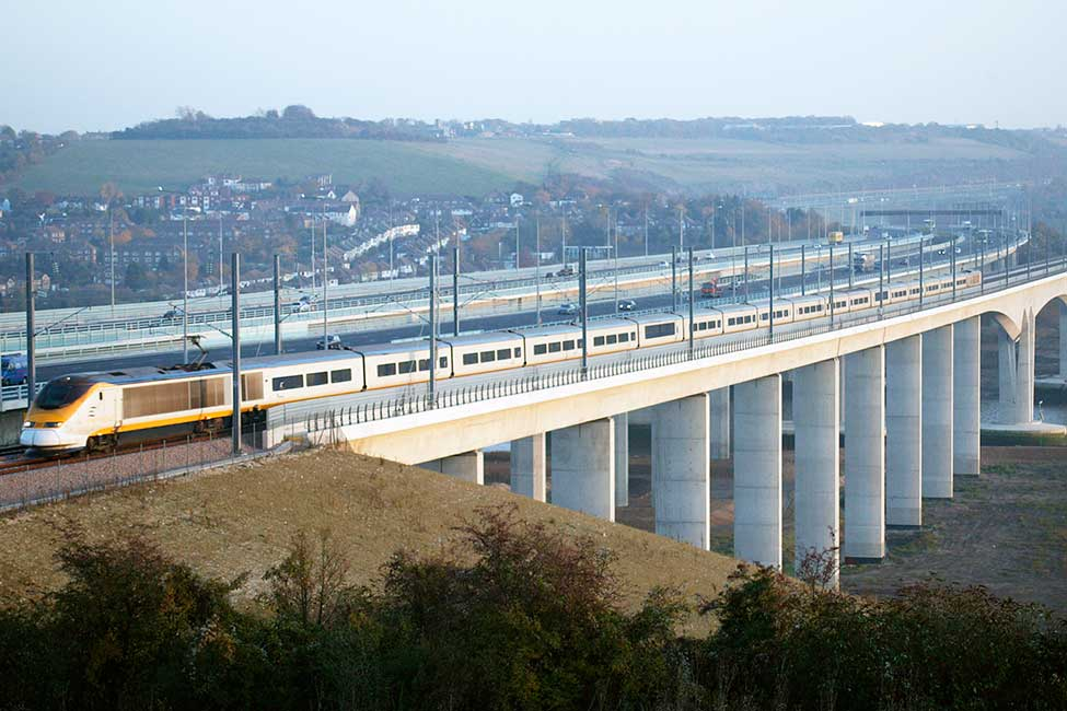 High speed 1 Eurostar crossing medway viaduct