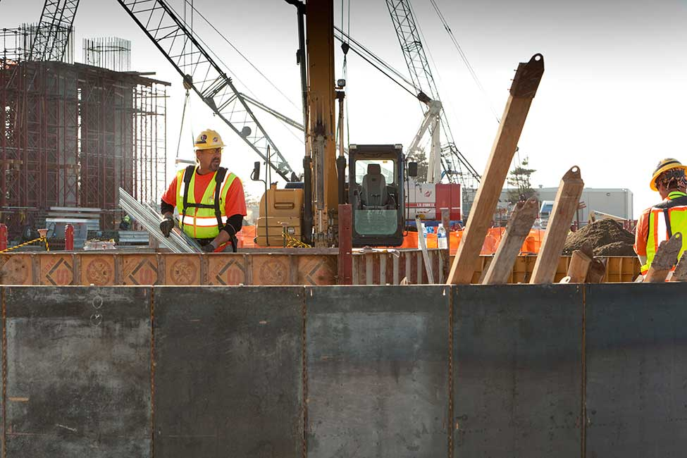 The project team installs concrete formwork