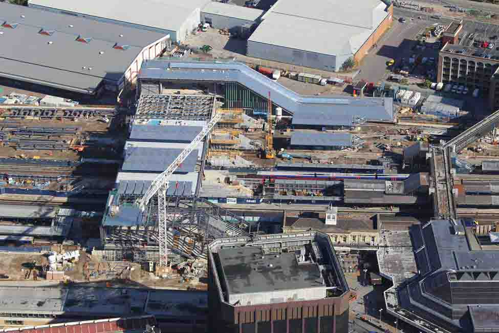 An aerial view of Reading Station, where Bechtel and Network Rail completed the massive expansion on schedule and within budget