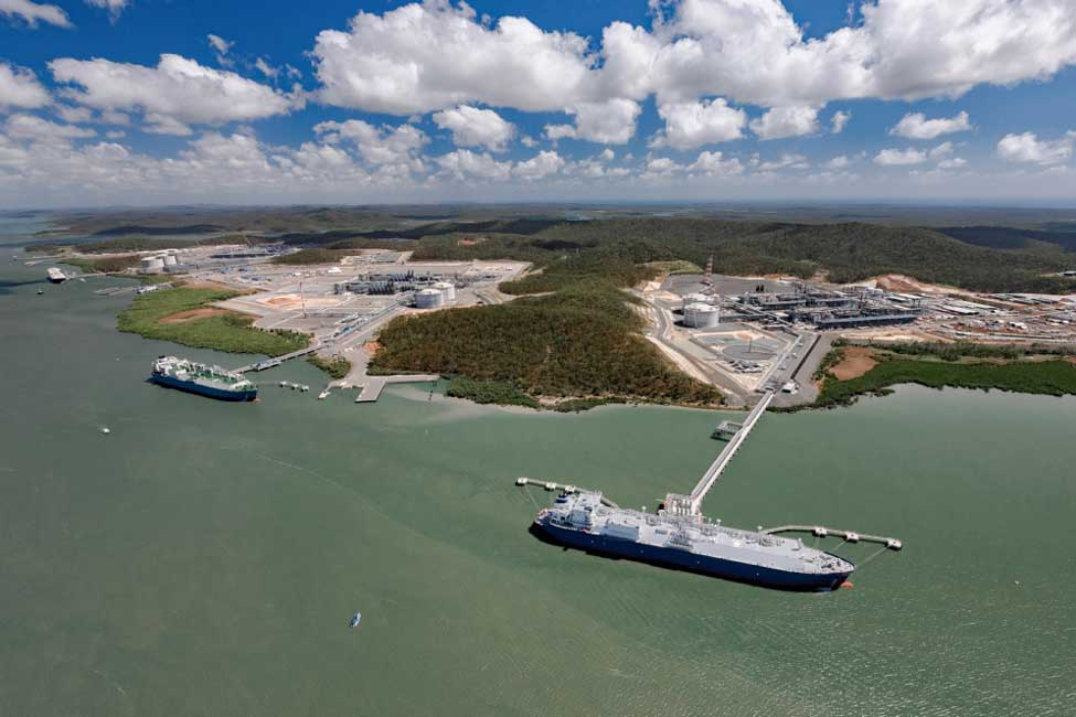 Ships being loaded with LNG at all three of the project's plants