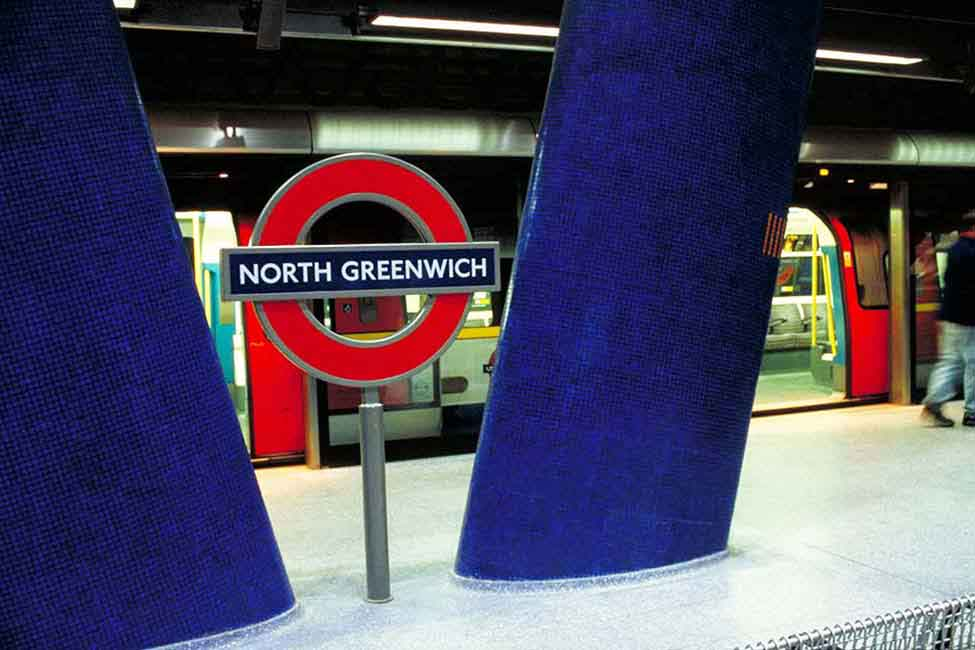 A view of North Greenwich, the closest underground station to the O2 Arena