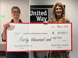 The $40,000 gift to United Way of Southwest Louisiana, presented by Bechtel's Maurissa Douglas Rogers (left), funded emergency grants to help 52 families cover rent, insurance, and utility payments.