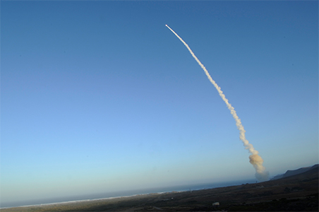 A Minuteman III missile launch with a test warhead.