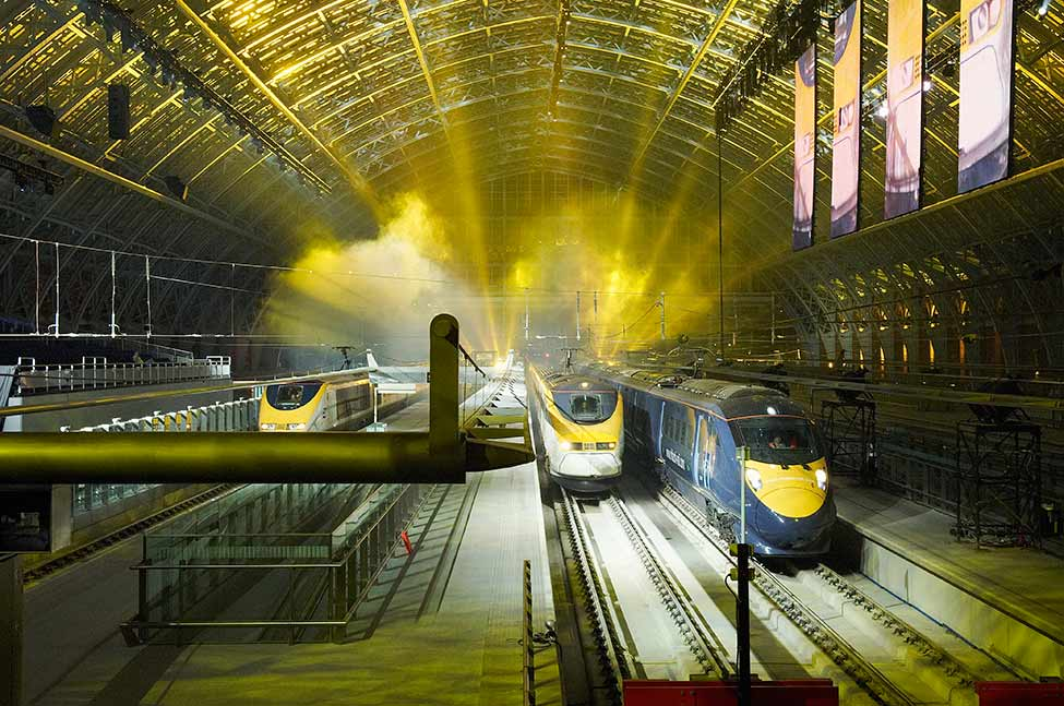 Eurostar trains illuminated