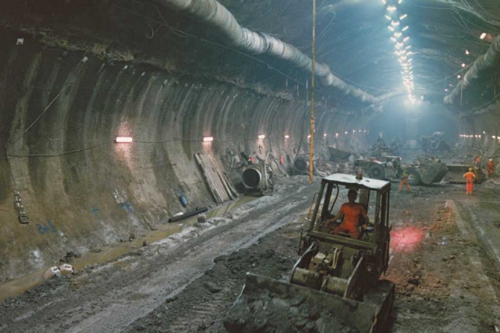 As the Chunnel actually has three tunnels, crews undertook nearly 100 miles (155 km) of tunneling
