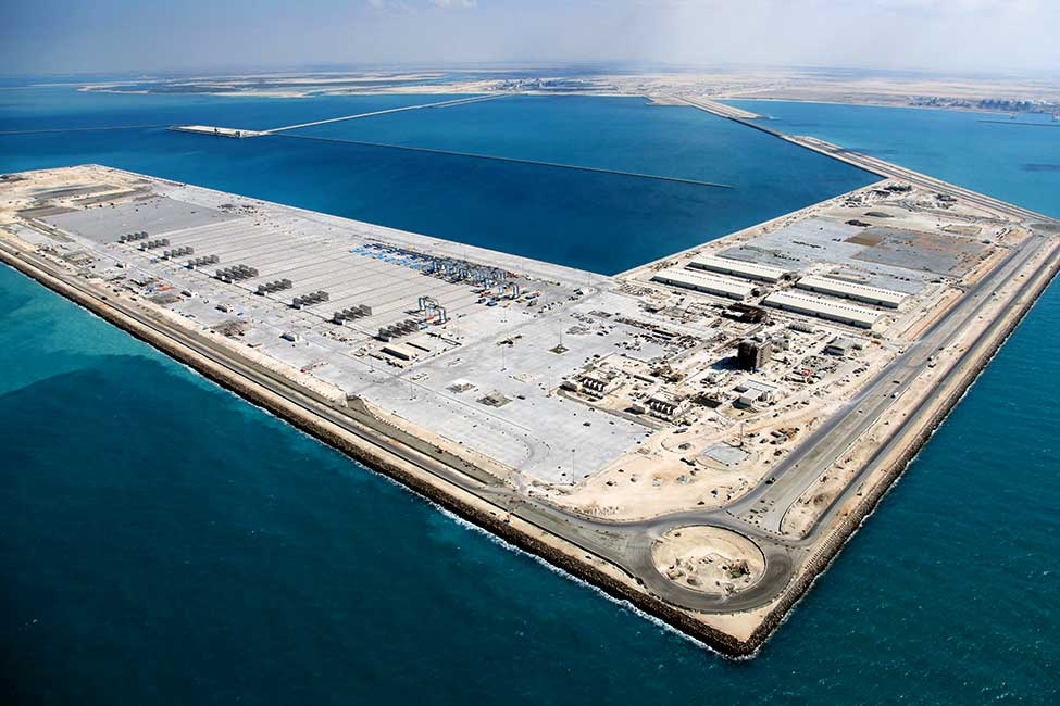 Bechtel's team built the offshore port and terminal complex by creating an artificial island more than 3 miles (some 5 kilometers) from shore