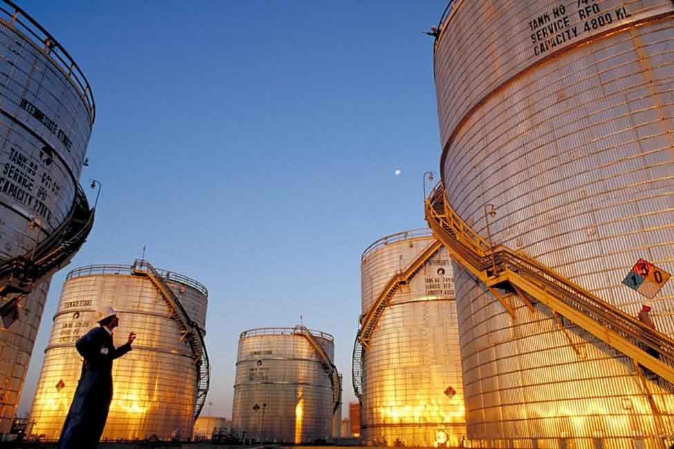 A view of Jamnagar's massive fuel storage tanks