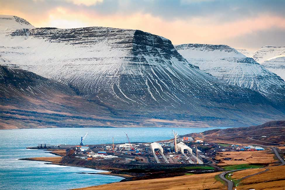 The Fjarðaál aluminum smelter in eastern Iceland