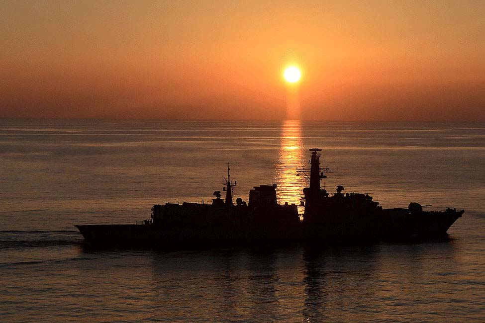 The HMS Montrose at sunset Image: © Crown copyright 2014